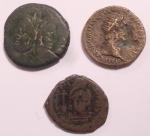 obverse: Lotti. Lotto di tre monete Romane e Bizantine. Notato Asse familiare da catalogare, Dupondio di Traiano, Follis bizantino da catalogare. Conservazioni mediamente MB.