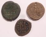 reverse: Lotti. Lotto di tre monete Romane e Bizantine. Notato Asse familiare da catalogare, Dupondio di Traiano, Follis bizantino da catalogare. Conservazioni mediamente MB.