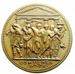 reverse: Medaglie. Paolo III. 1534-1549. Riconio del XIX secolo. La cacciata dei profanatori del tempio. Diametro 32,00 mm. SPL+\FDC.\\
