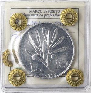 R/ Repubblica Italiana. 10 lire 1948 Ulivo. It. Gig 231. qFDC. Perizia marco Esposito. NC.