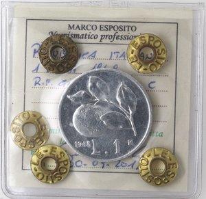 R/ Repubblica Italiana. 1 lira 1948 Arancia. It. Gig 363. qFDC. Perizia Marco Esposito.