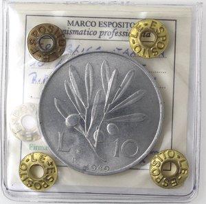 R/ Repubblica Italiana. 10 Lire 1949 Ulivo. It. Gig 232. qFDC. Perizia Marco Esposito.