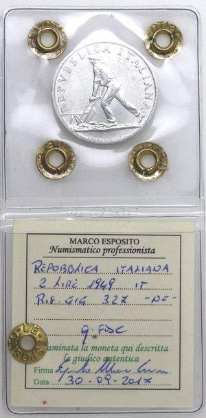 D/ Repubblica Italiana. 2 lire 1949 Spiga. It. Gig 327. qFDC. Perizia Marco Esposito. NC.