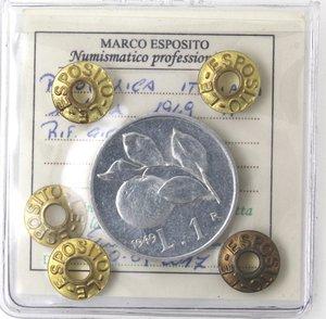 R/ Repubblica Italiana. 1 lira 1949 Arancia. It. Gig 364. qFDC. Perizia Marco Esposito.