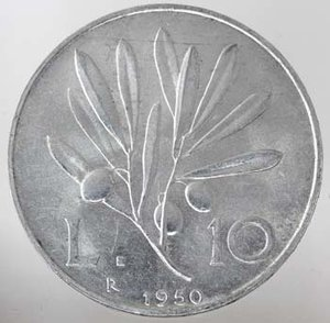 R/ Repubblica Italiana.10 Lire 1950 Ulivo. It. Gig.233.SPL+/qFDC.