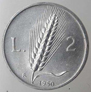 R/ Repubblica Italiana.2 Lire 1950 Spiga. It. Gig 328.SPL. Graffio al diritto. Colpetti.