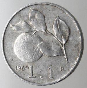 R/ Repubblica Italiana.1 Lire 1950 Arancio. It. Gig 365.BB+. Colpetto al bordo.
