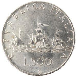 R/ Repubblica Italiana.500 Lire 1958 Caravelle. Ag. Gig. 8. SPL. Colpetto a ore 11 al rovescio.