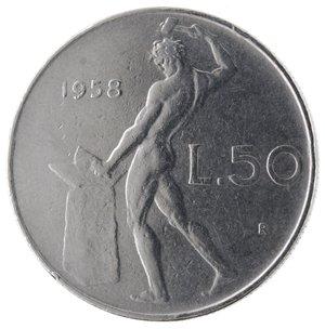 R/ Repubblica Italiana. 50 lire  1958 Vulcano. Ac. Gig.147. BB+. R.