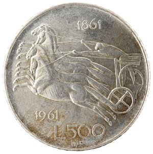 R/ Repubblica Italiana. 500 Lire 1961 Unità d'Italia. Ag. Gig. 41. FDC.