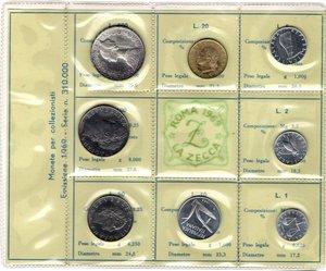 D/ Repubblica Italiana. Serie divisionale 1969. 9 valori con 500 Lire. Ag. Gig. S.2. FDC. In confezione originale della Zecca.