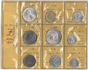D/ Repubblica Italiana. Serie divisionale 1970. 9 valori  di cui  1000 Lire e 500 Lire. Ag. Gig. 3. FDC. Confezione originale della Zecca.