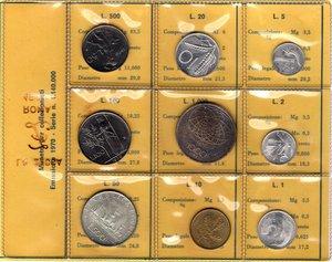 D/ Repubblica Italiana. Serie divisionale 1970. 9 valori  di cui  1000 Lire e 500 Lire. Ag. 20 lire con P invece che R. Gig. S.4. FDC. Confezione originale della Zecca. R.