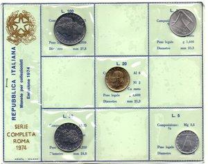 D/ Repubblica Italiana. Serie divisionale 1974. Metalli vari. Gig 29. FDC.
