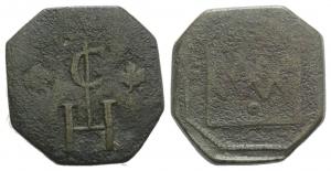 D/ Peso di moneta di bronzo (24 mm, 9,27 g). Monogramma tra le foglie. R / braccia. MB da classificare (NON SI ACCETTANO RESI)