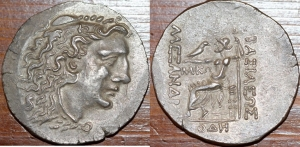 obverse: TRACIA, Odessos (ca. 80-72/71 a.C.) AR Tetradracma 15,69 gr. Nel nome e nei tipi di Alessandro III di Macedonia. Lako (n), magistrato. D/ Testa di Eracle destra, con la pelle di leone R/ Zeus Aëtophoros seduto a sinistra; ΛΑΚΩ nel campo interno sinistro, ΟΔH in esergo. Callataÿ Group 3, dies D4/R3; Topalov, Odesos 80; Price 1193; HGC 3, 1589 Rara SPL ex Asta Classical Numismatic Group 309, lotto 178