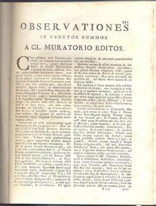 D/ ANONIMO. - Observationes in Venetos nummos, Mantissa ad nummos venetos. Milano, 1750. pp. 271-287, tavv. 1. ril. \ pelle, buono stato. raro