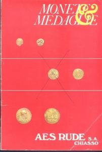 obverse: AES RUDE s.a. – Lugano, 2/3-Aprile-1982. Asta n. 8. Monete greche, romane, bizantine, medioevali, e moderne, medaglie. pp. 41, nn. 868, tavv. 43.croce a penna su moneta in copertina