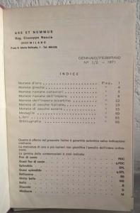 obverse: ARS ET NUMMUS – Milano, Annata completa 1971 rilegata in tela rossa. Molte pp. e tavv. b/n