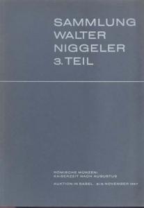 obverse: BANK LEU AG, MUNZEN und MEDAILLEN AG. - Basel 2/3 November 1967. Sammlung Walter Niggler 3 Teil. Romische munzen: Kaiserzeit nach Augustus. pp.64, nn. 1079-1604, tavv. 32.