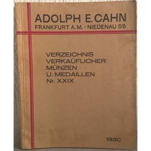 obverse:  CAHN A. E. – Frankfurt am Main, 1930. Verzeichnis verkauflicher No. XXIX. Munzen und medaillen. pp. 407, nn. 11823