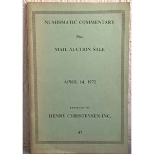 obverse: CHRISTENSEN H. Inc. – Numismatic commentary plus mail auction sale 47. Madison, 1972. pp. 75, nn. 3030, ill. n. t. raro