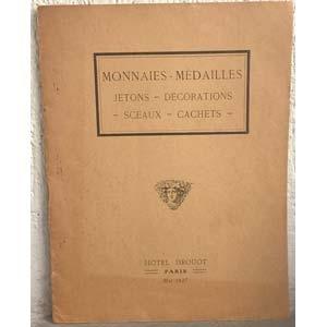 obverse: FLORANGE J. - CIANI L. – Paris, 5 Mai 1927. Monnaies françaises et étrangères – Jetons – Médailles et décorations – Objets divers. pp. 16, nn. 258.