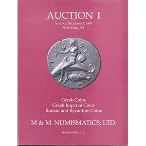 obverse: M&M NUMISMATICS LTD. - New York, 7- December, 1997. Auction n. 1. Greek coins, Greek imperial coins, Roman and byzantine coins. pp. 126, nn. 412, tutti ill. + tavv. 1 colori. importante vendita.