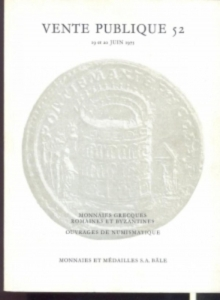 obverse: MUNZEN UND MEDAILLEN AG. – Basel, 19 et 20 juin 1975. Auktion 52. Monnaies grecques, romaines et byzantines. Ouvrages de numismatique. pp. 122, nn. 1043, tavv. 54, tavv. 2 col.