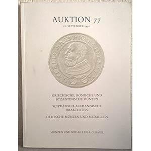 obverse: MUNZEN UND MEDAILLEN AG. – Bale, 18 september 1992. Auktion 77. Griechische, romische und byzantinische munzen - Schwabisch-Alemannische brakteaten – Deutsche munzen und medaillen. pp. 90, nn. 844, tavv. 50.