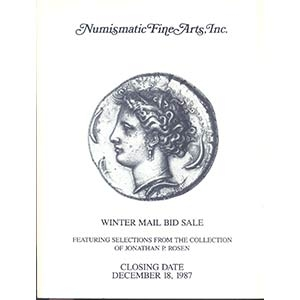 obverse: NUMISMATIC FINE ARTS. - Santa Monica 18 December 1987 closing date. Featuring selection from the collection of Jonathan P. Rosen, ancient coins & numismatic literature. pp. 121, nn. 1175, tavv. 44.l. p.v.e agg. importante collezione di monete greche