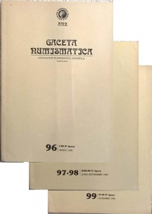 obverse: AA. VV. – Gaceta Numismatica. Asociacion Numismatica Espanola. N. 96, marzo 1990. Barcelona, 1990. pp. 48, ill. - N. 97-98, junio-septiembre 1990. Barcelona, 1990. pp. 151, ill. - N. 99, diciembre 1990. Barcelona, 1990. pp. 73, ill. ANNATA COMPLETA
