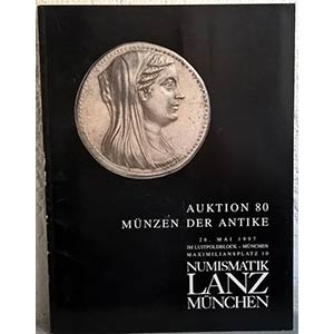 obverse: NUMISMATIK LANZ – Munchen, 26 mai 1997. Auktion 80. Munzen der antike. pp. 76, nn. 800, tavv. 26.