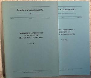 obverse: AA. VV. – Annotazioni numismatiche. Nn. 29-30. Contributi numismatici in ricordo di Franco Chiesa (1921-1998). (2 parti) Milano, 1998. pp. 645-704, ill. n. t.
