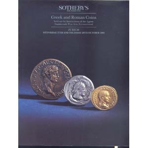 obverse: SOTHEBY S - Zurich 27/28 October 1993. Greek and Roman coins. Sold of the instruction of the agent: Numismatic Fine Arts,International. pp. 262, nn. 1890, tutti ill. + tavv. 14 a colori.