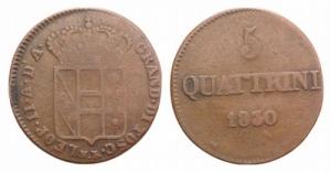 D/ ITALIA. FIRENZE, Leopold II (1824–1859). Mi 5 Quattrini 1830 Gig. 72 MB/BB (NON SI ACCETTANO RESI)