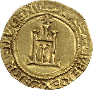 Z. ITALIANE. GENOVA. Dogi Biennali (1528-1797). Scudo d'oro del Sole (gr.3,34). D/Castello sormontato dal Sole. R/Croce. CNI.3 Varesi 185/1. AU.