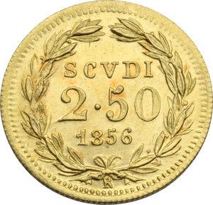 Z. ITALIANE. ROMA. Pio IX (II per. 1849-66) 2,5 Scudi 1856 an.XI. Pag.361. AU.
