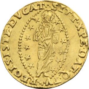 Z. ITALIANE. VENEZIA. Francesco Venier (1554-56) Zecchino. Nei tipi soliti. Pao.1. AU.