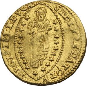 Z. ITALIANE. VENEZIA. Marino Grimani (1595-1605) Zecchino. Nei tipi soliti. Pao.1. AU.