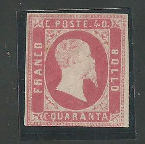 D/ FRANCOBOLLI. REGNO DI SARDEGNA. Vittorio Emanuele II (1849-59). Stati Sardi 1851, I em. 40 centesimi rosa carminio. Bolaffi 3c. (Cert.A.D.) (Gomma originale)                  .                                                                     Molto Raro