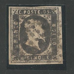 D/ FRANCOBOLLI. REGNO DI SARDEGNA. Vittorio Emanuele II (1849-59). Stati Sardi 1851, I em. 5 centesimi nero grigiastro. Annullato. Sass.1 (Certificato A.D.) (Ottimi margini) Raro