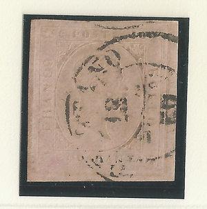 D/ FRANCOBOLLI. REGNO DI SARDEGNA. Vittorio Emanuele II (1849-59). Stati Sardi 1853, II em. 40 centesimi rosa, usato. Sass.6a. (Certificato Ray.)