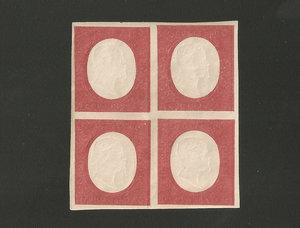 D/ FRANCOBOLLI. REGNO DI SARDEGNA. Vittorio Emanuele II (1849-59). Stati Sardi, non emessi III em. 40 centesimi rosso mattone in quartina. Annullo Bologna 1862. Sass.12. (Certificato A.D.)
