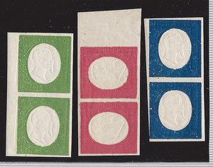 D/ FRANCOBOLLI. REGNO DI SARDEGNA. Vittorio Emanuele II (1849-59). Stati Sardi. Tre valori non emessi 1854, in coppia: 5 centesimi verde, 20 centesimi azzurro/blu e 40 centesimi rosso. Sass.10/12. (Certificato Biondi)