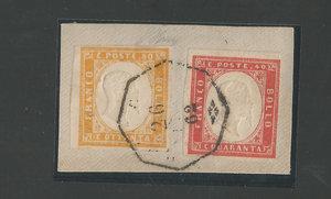 D/ FRANCOBOLLI. SARDEGNA 20 centesimi, 40+80 centesimi su frammento con annullo Bologna. Sass.5/16D/17. (3 p.zi)