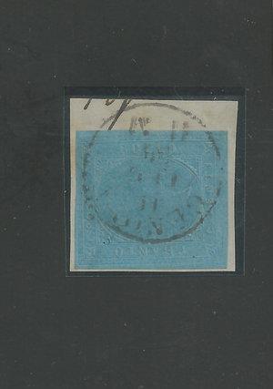 R/ FRANCOBOLLI. SARDEGNA 20 centesimi, 40+80 centesimi su frammento con annullo Bologna. Sass.5/16D/17. (3 p.zi)