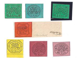 D/ FRANCOBOLLI. STATO PONTIFICIO. Pio IX (1846-70). Lotto composto da 7 valori: 2x2 centesimi, 5, 10, 20, 40, 80 centesimi.