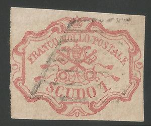 D/ FRANCOBOLLI. STATO PONTIFICIO. Pio IX (1846-70) 1 Scudo rosa carminio 1852. Annullato con bollo a griglia. Sassone 11. (Certificato E. Diena)