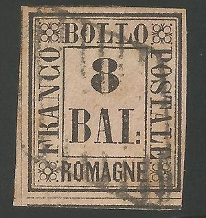 D/ FRANCOBOLLI. STATO PONTIFICIO. Pio IX (1846-70) 8 Bajocchi rosa 1859. Annullato con bollo a griglia nitido. Sassone 9. (certificato E.Diena)